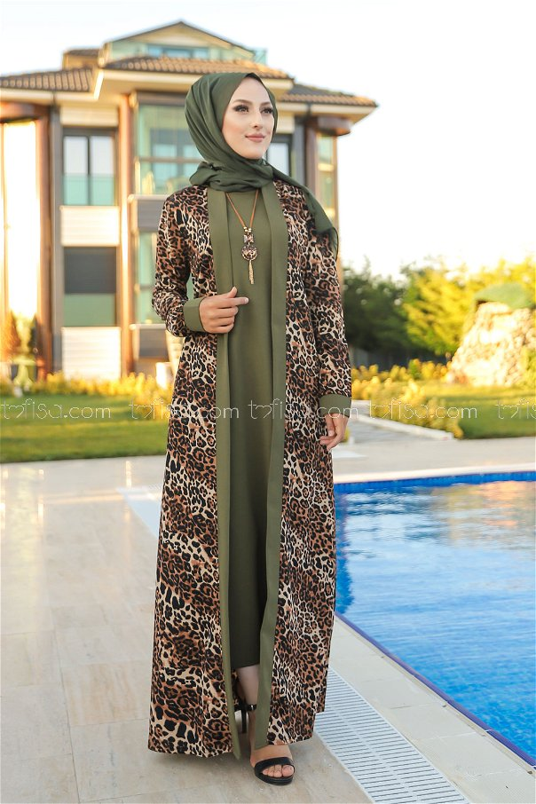 Elbise Ceket Kemer Kolye Haki - 9038