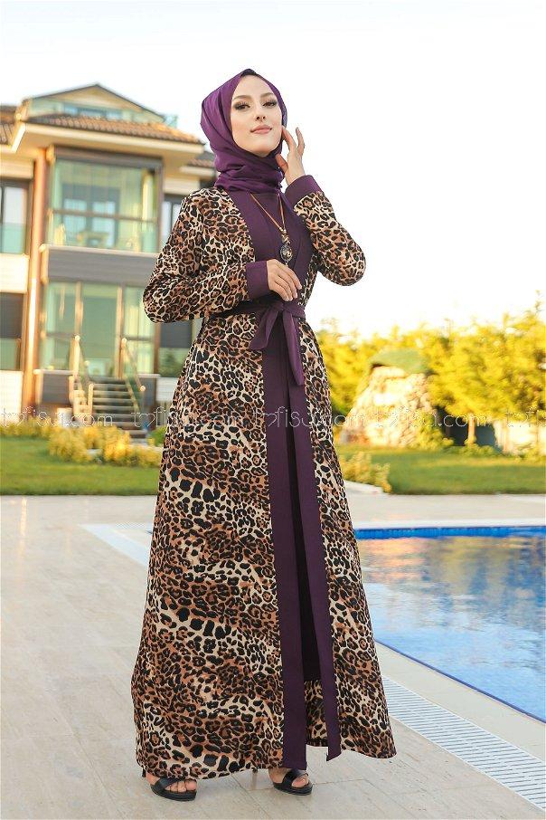 Elbise Ceket Kemer Kolye Mürdüm - 9038