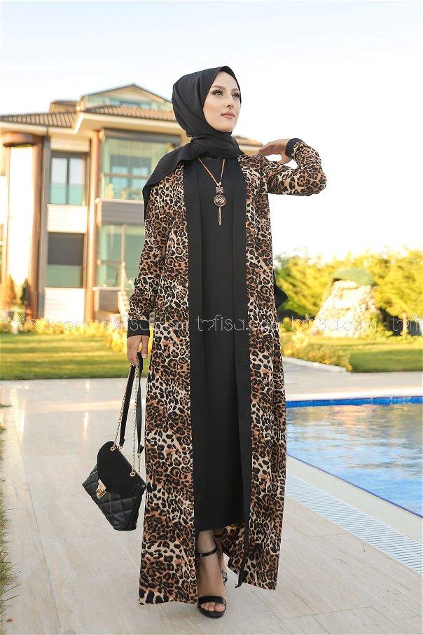 Elbise Ceket Kemer Kolye Siyah - 9038