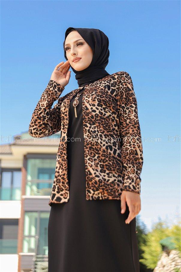 Elbise Ceket Kemer Kolye Siyah - 9040