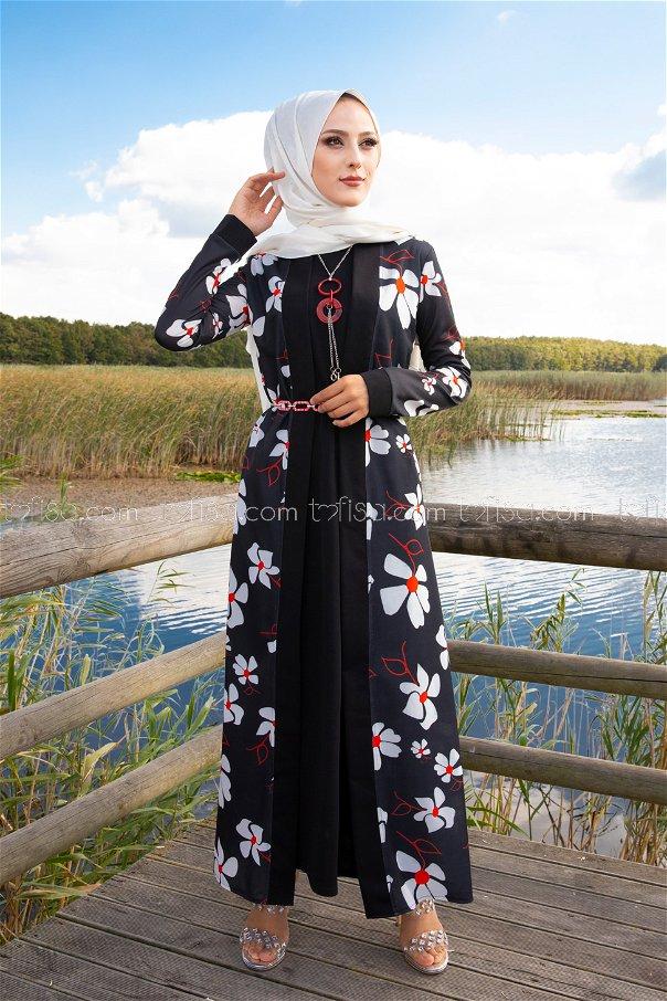 Elbise Ceket Kemer Kolye Siyah - 9053
