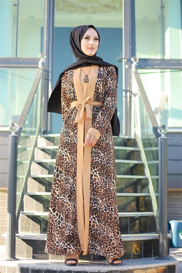 Elbise Ceket Kemer Kolye Vizon - 9038