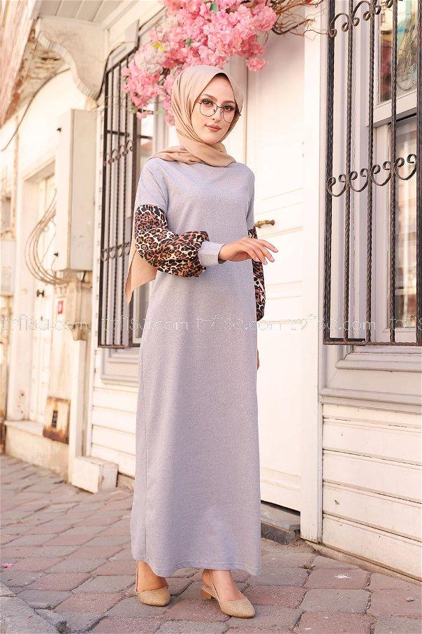 Elbise Gri - 3239