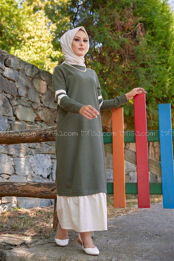 Garnılı Elbise Haki - 3080