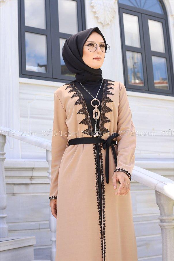 Elbise Hırka Kemer Kolye Bej - 9024
