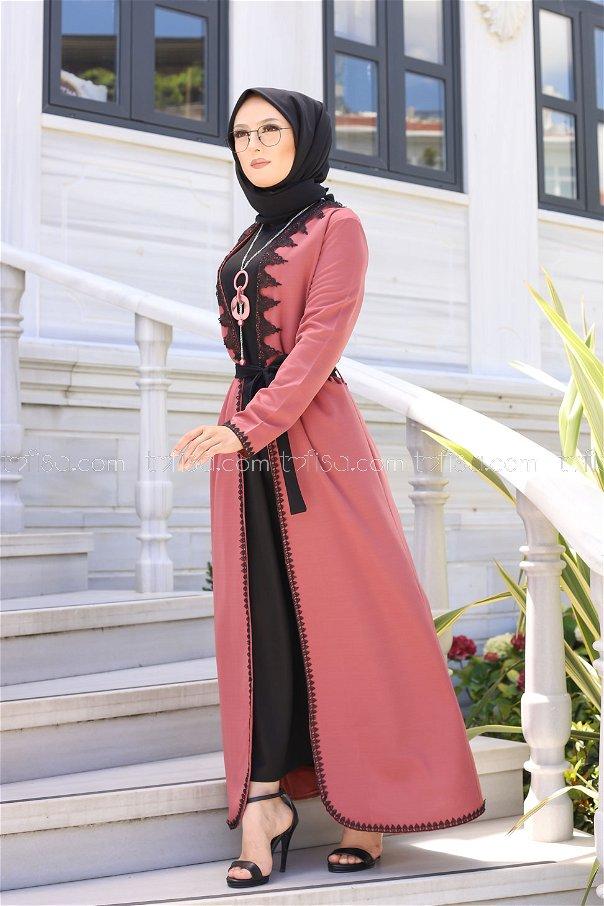 Elbise Hırka Kemer Kolye Gül - 9024
