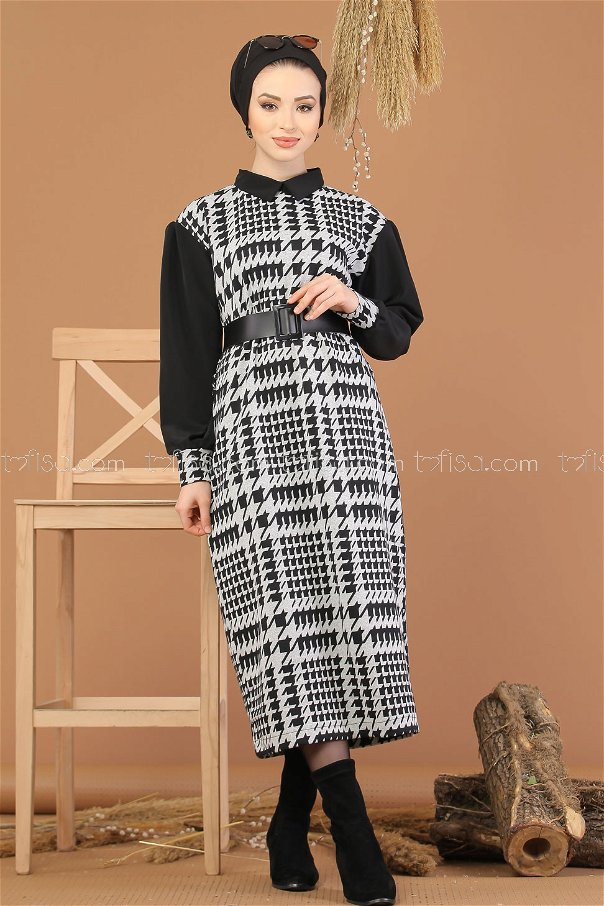 Elbise Kemer Siyah Gri - 8248