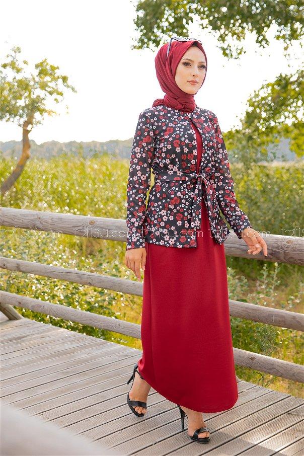Elbise Ceket Kemer Bordo - 9054