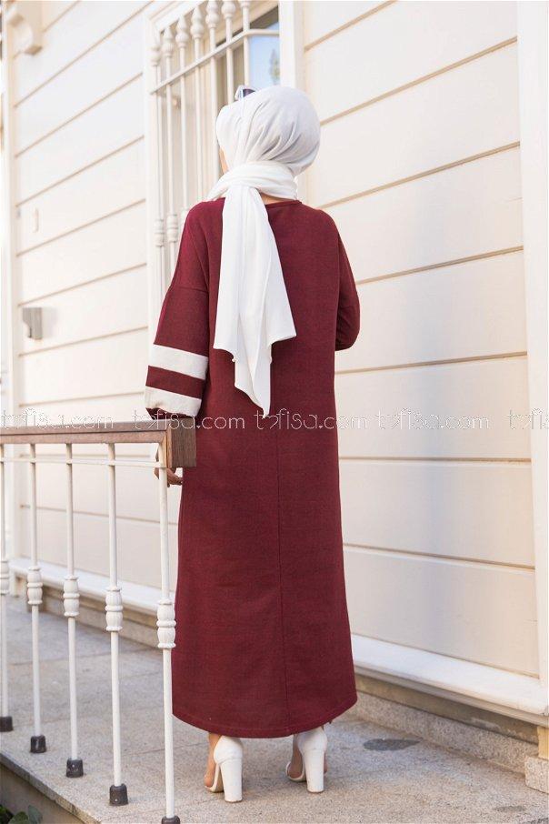 Elbise Koyu Bordo - 4134