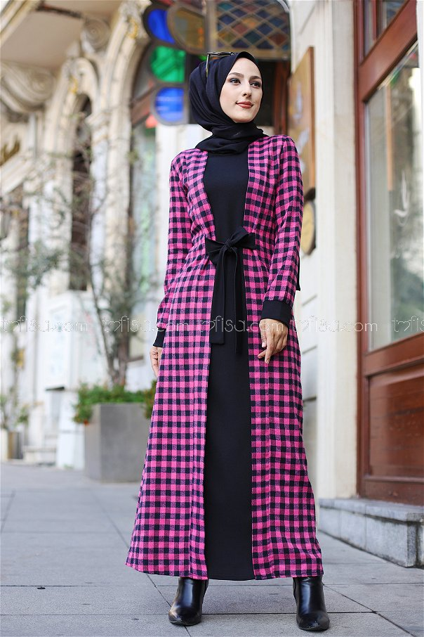 Elbise Lacivert Fuşya - 9093