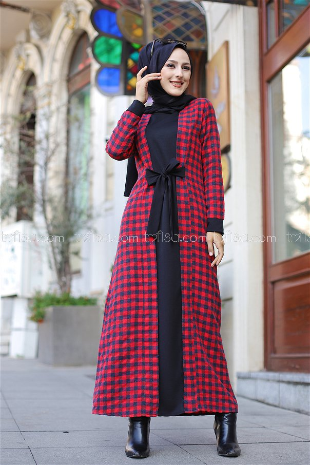 Elbise Lacivert Kırmızı - 9093