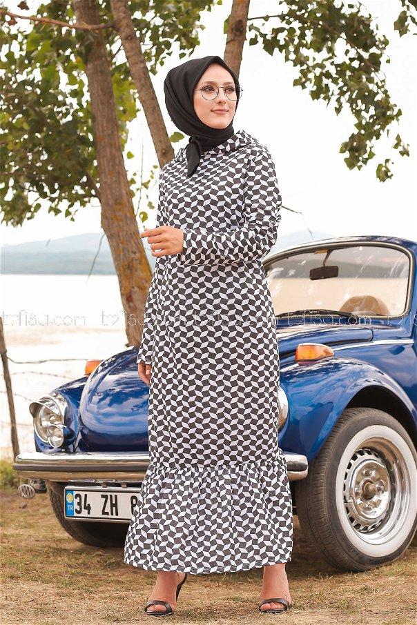 Elbise Siyah Beyaz - 8555