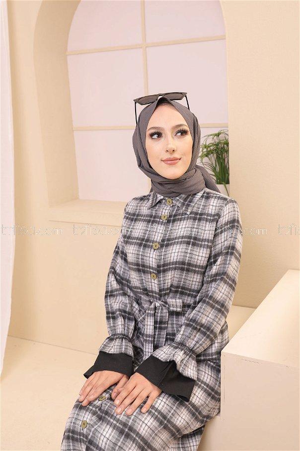 Elbise Siyah Ekru - 8639