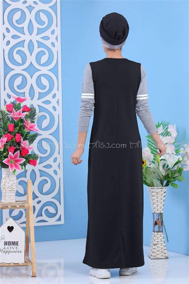 Elbise Siyah Gri - 02 5122