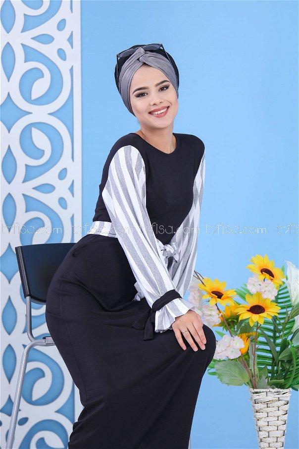 Elbise Siyah Gri - 03 5140