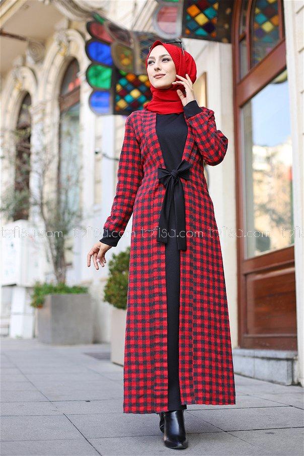 Elbise Siyah Kırmızı - 9093