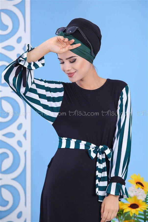 Elbise Siyah Yeşil - 03 5140