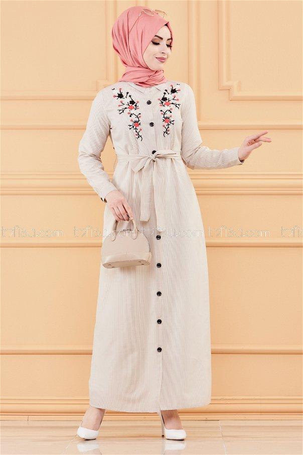 Embroidered Dress MINK - 9136
