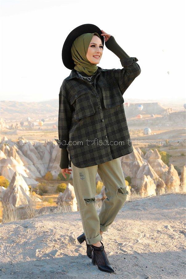 Fakir Kol Oduncu Gömlek Haki Siyah - 13200
