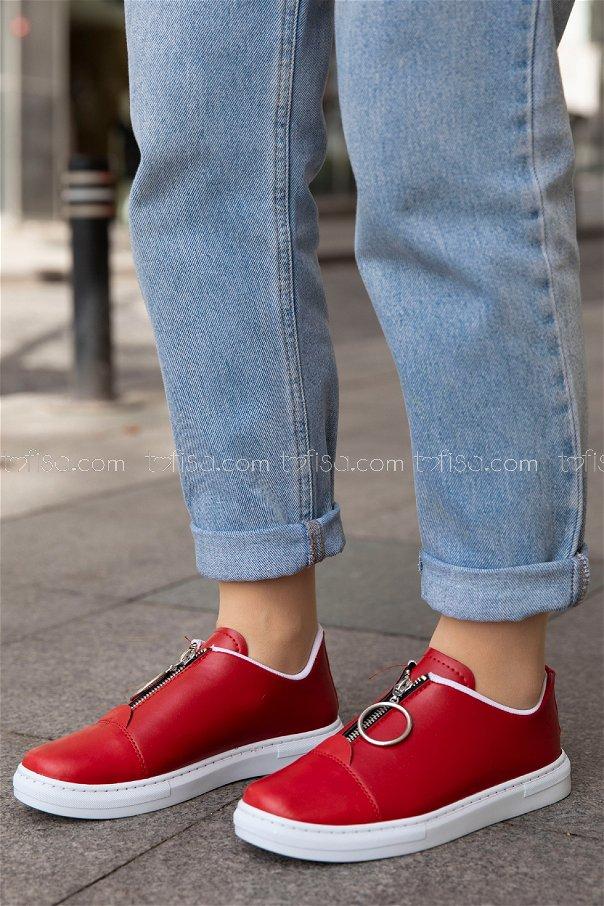 Fermuarlı Ayakkabı KIRMIZI - 8715