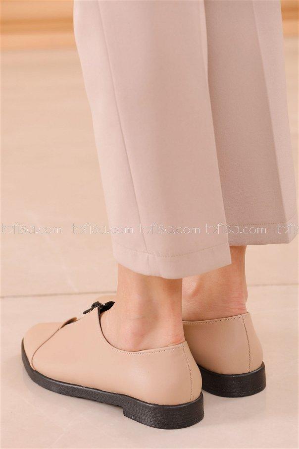 Fermuarlı Ayakkabı KREM - 20623