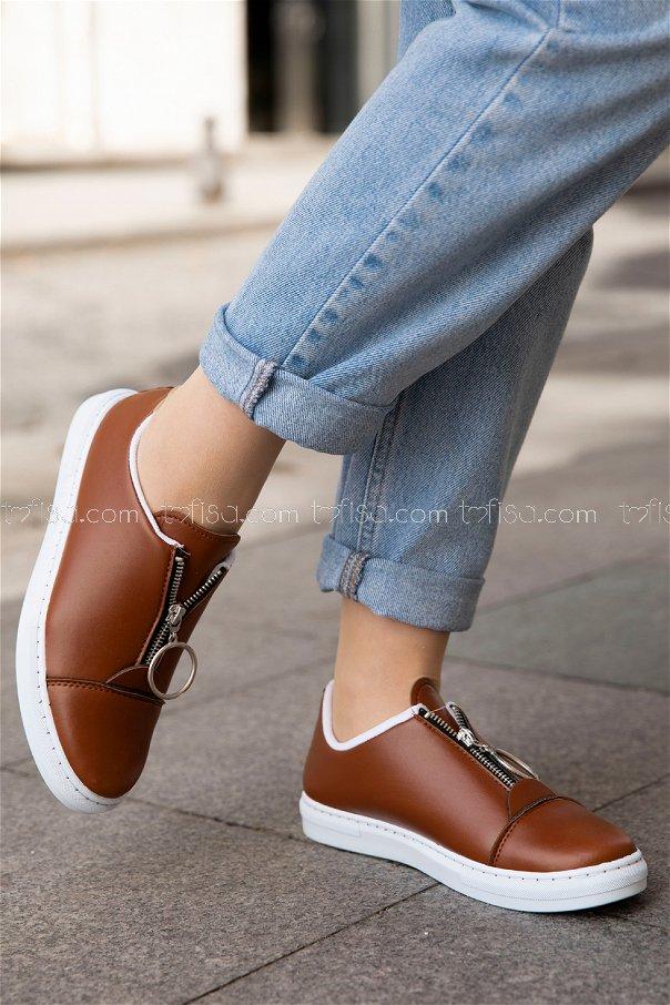 Fermuarlı Ayakkabı TABA - 8715
