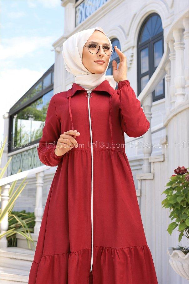 Fermuarlı Elbise Bordo - 3067