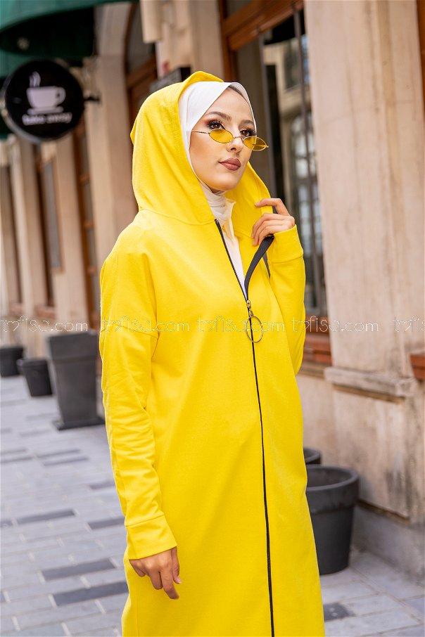 Fermuarlı Hırka Sarı - 3243