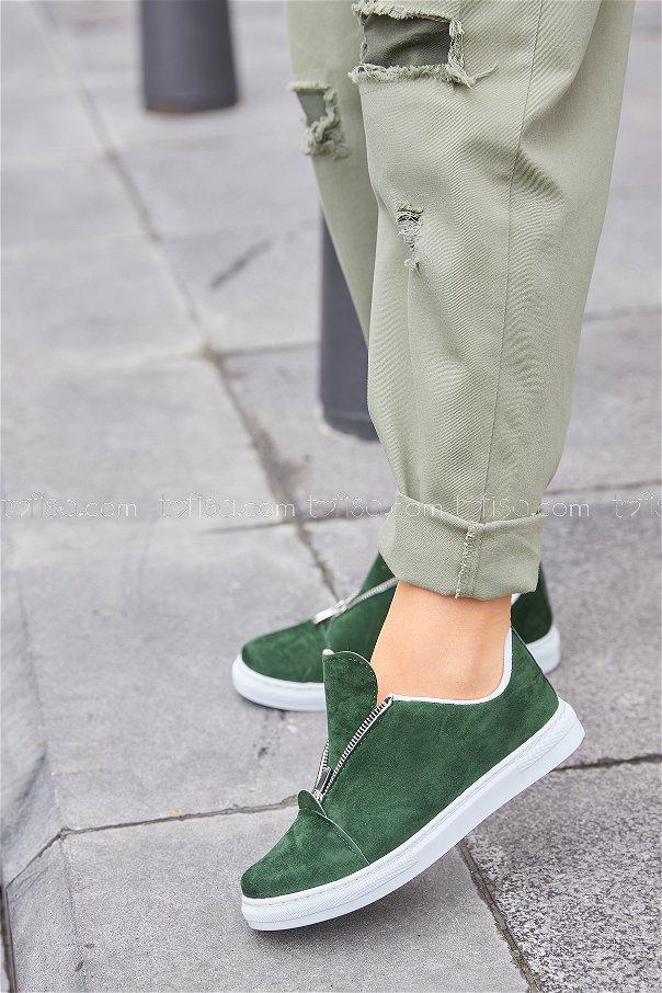 Fermuarlı Suet Ayakkabı Hakı - 8716