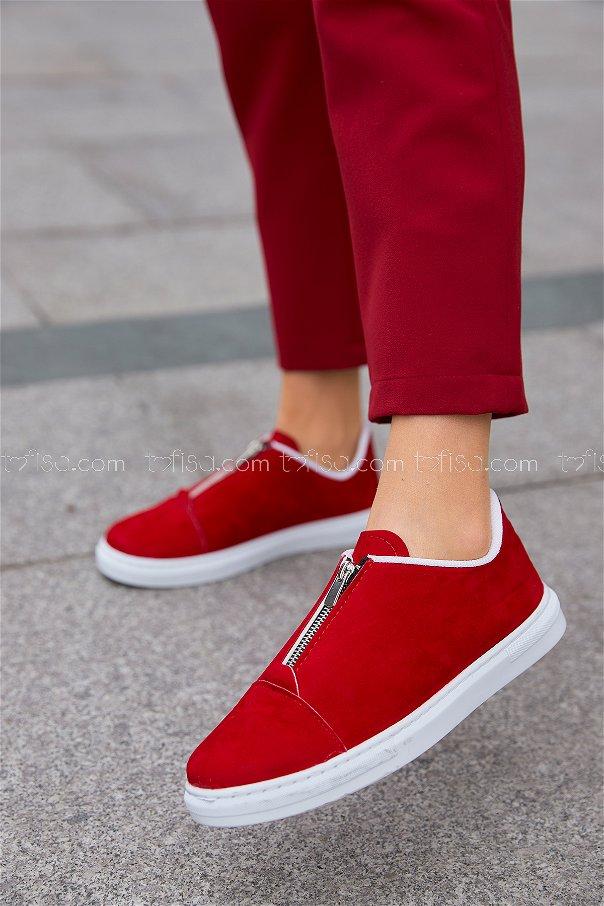 Fermuarlı Suet Ayakkabı Kırmızı - 8716