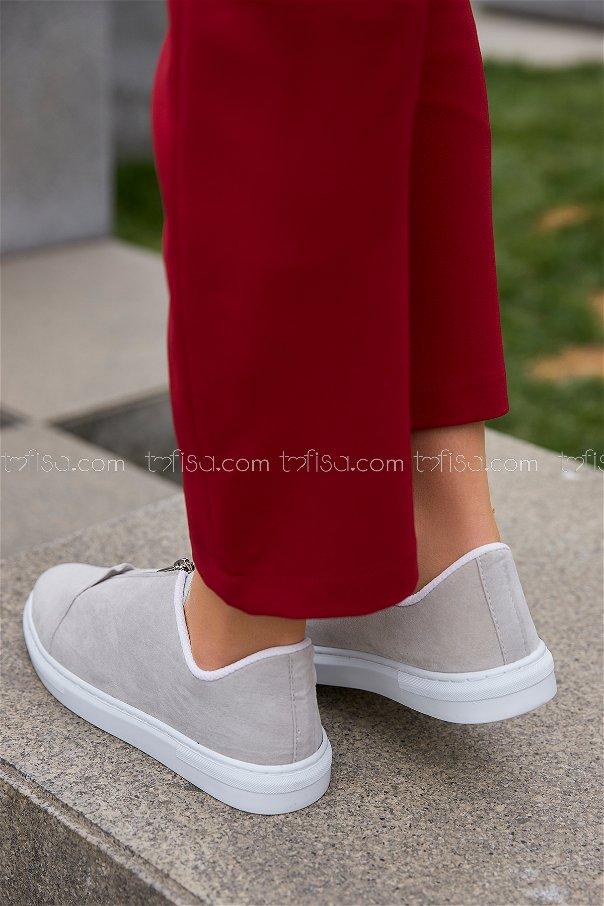 Fermuarlı Suet Ayakkabı Tas - 8716