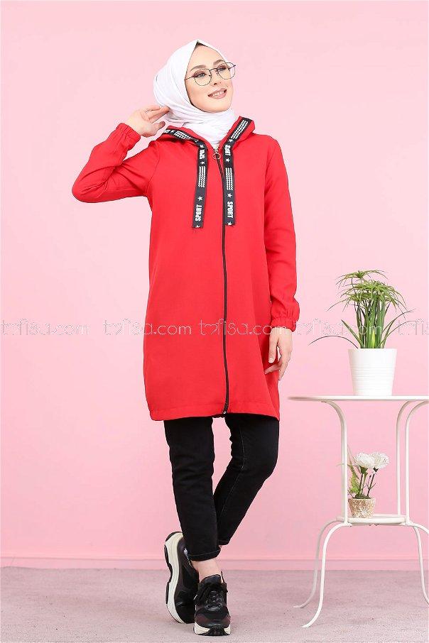 Fermuarlı Tunik Kırmızı - 3038