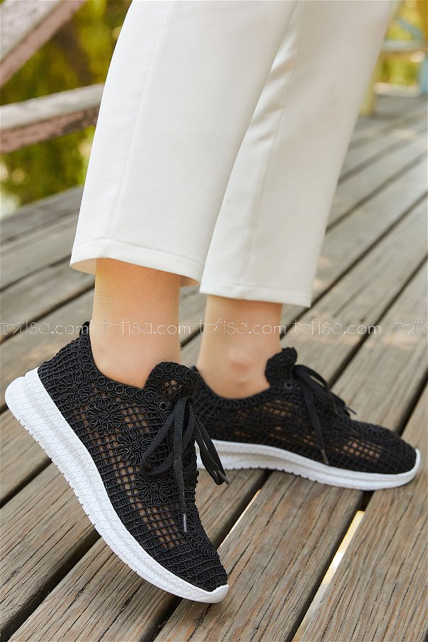 Fılelı Ayakkabı SIYAH BEYAZ - 20138
