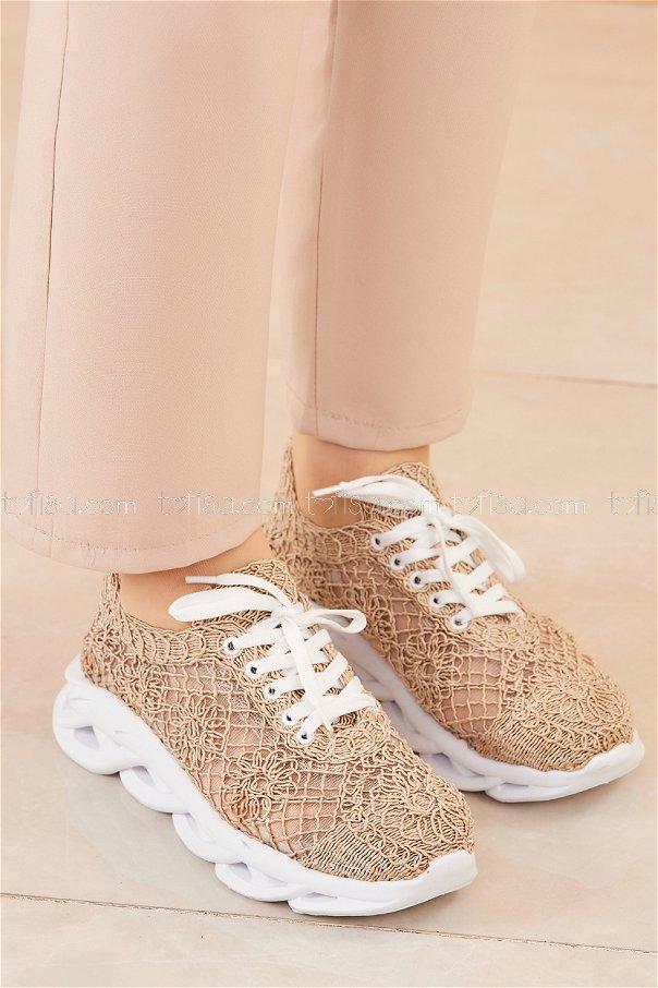 Fılelı Desenlı Ayakkabı BEJ - 20205