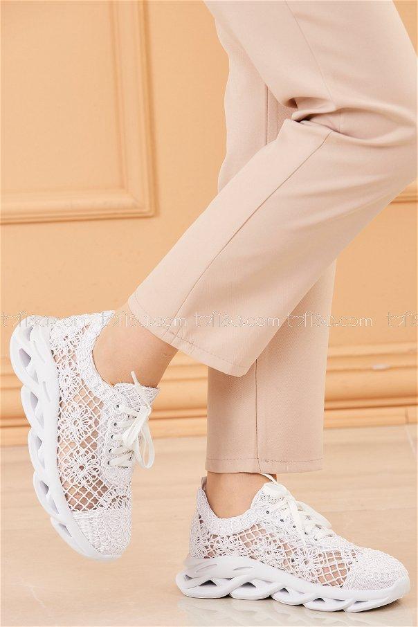 Fılelı Desenlı Ayakkabı BEYAZ - 20205