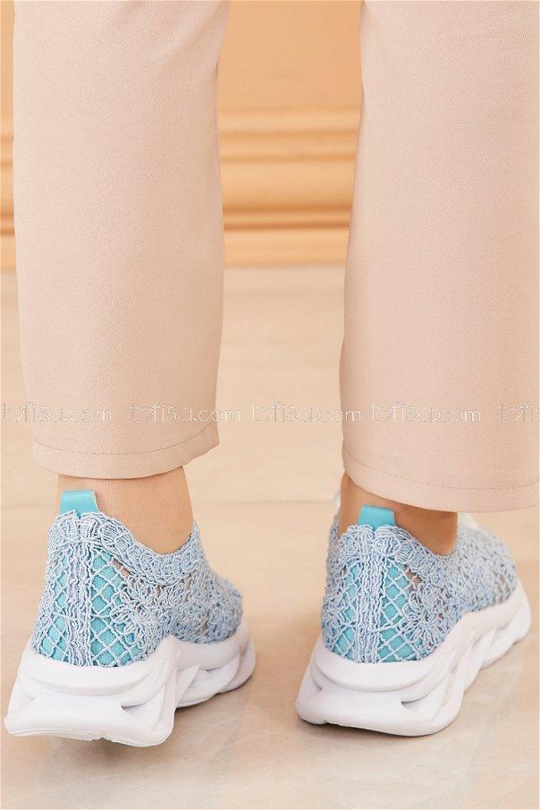 Fılelı Desenlı Ayakkabı MAVI - 20205
