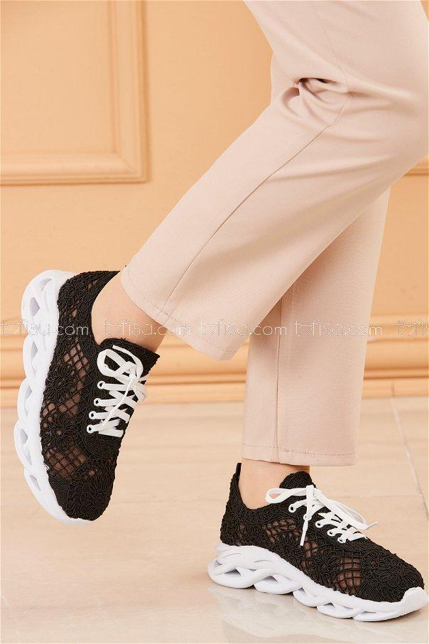 Fılelı Desenlı Ayakkabı SIYAH - 20205