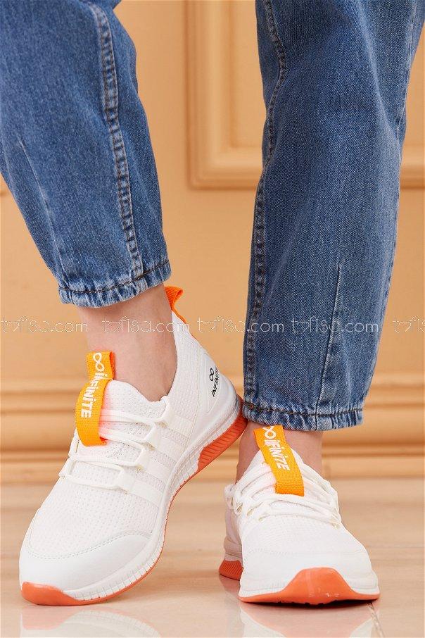 Fılelı Spor Ayakkabı BEYAZ F.TURUNCU - 20219