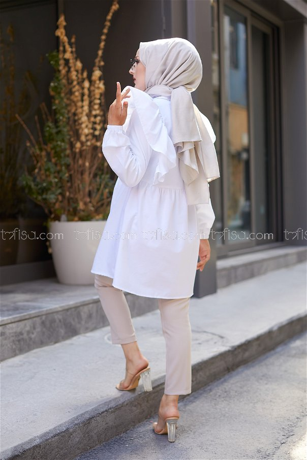 Fırfırlı Tunik Beyaz - 3126