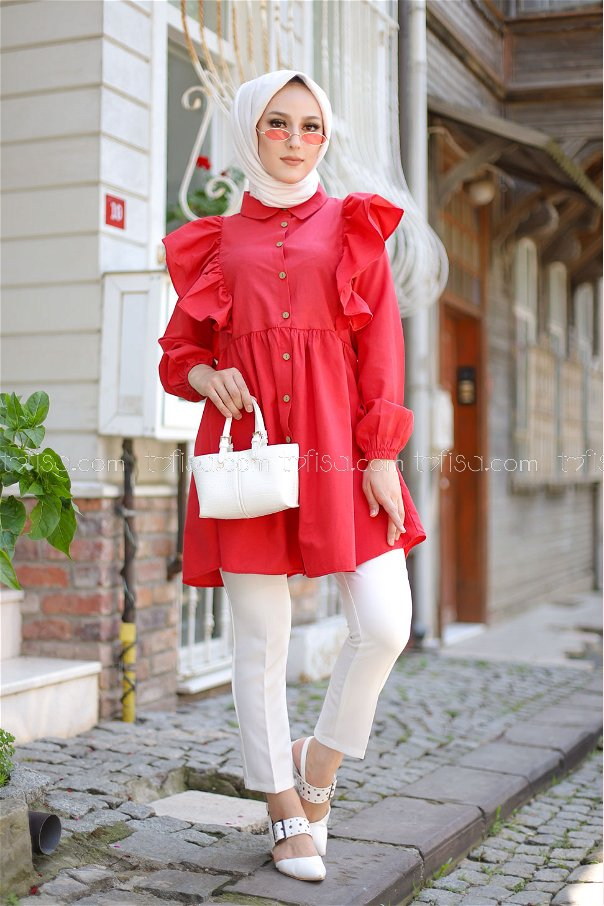 Fırfırlı Tunik Kırmızı - 3126