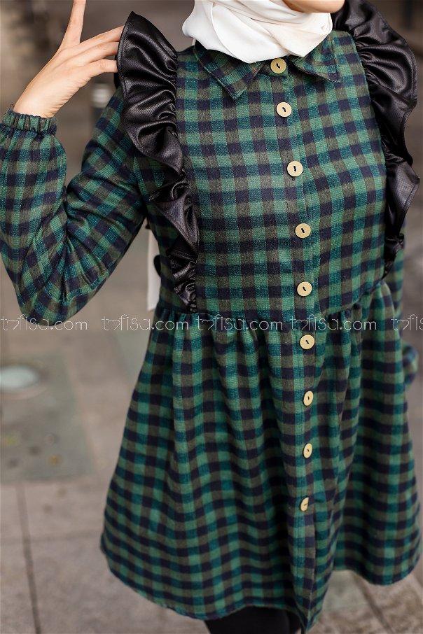 Fırfırlı Tunik Lacivert Yeşil - 3332