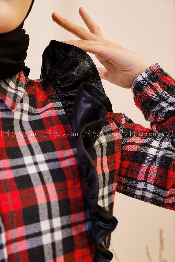 Fırfırlı Tunik Siyah Kırmızı - 3332