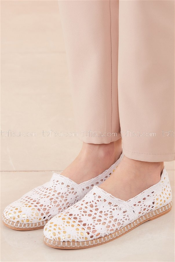 Fishnet Flat Shoes WHITE - 20567