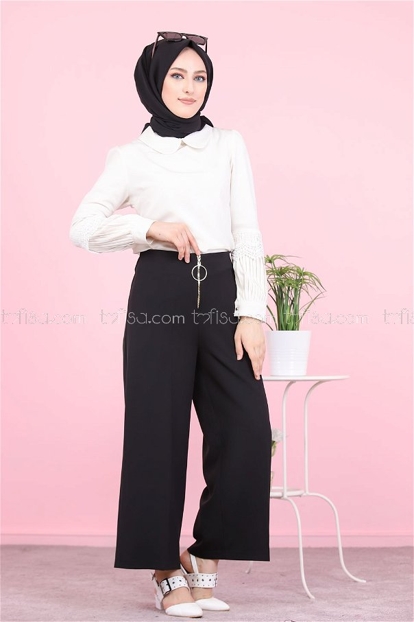 Front Zippered Pants Black - 8500
