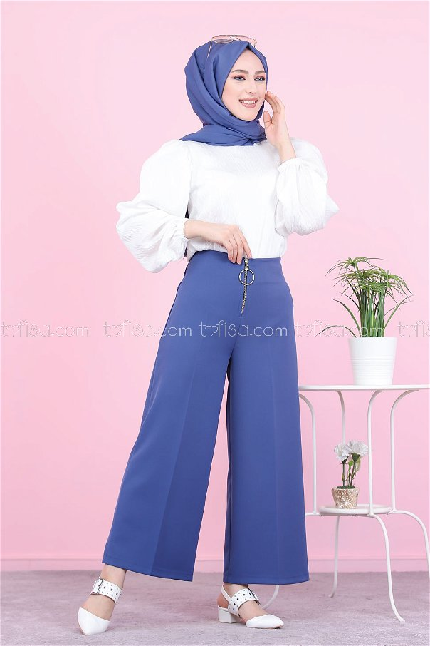 Front Zippered Pants Blue - 8500