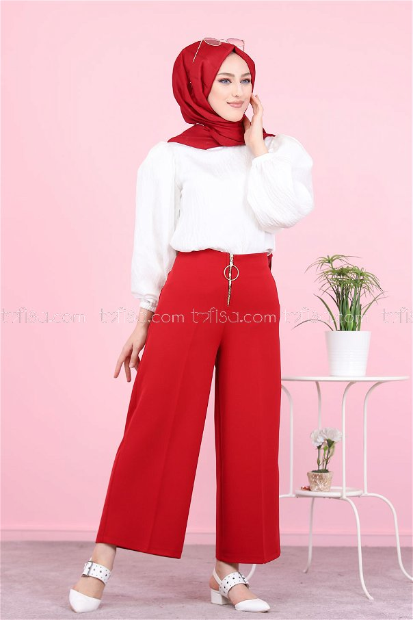 Front Zippered Pants Claret Red - 8500