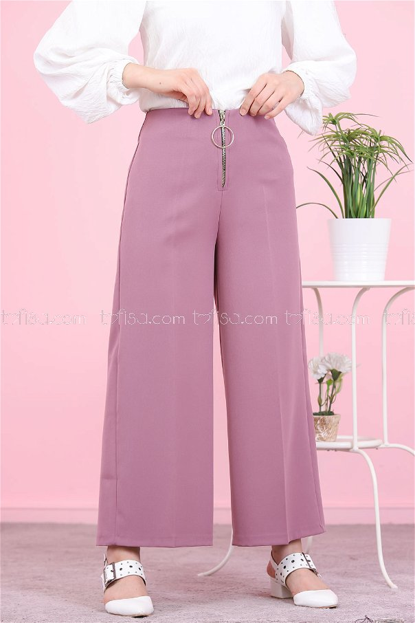 Front Zippered Pants Damson - 8500