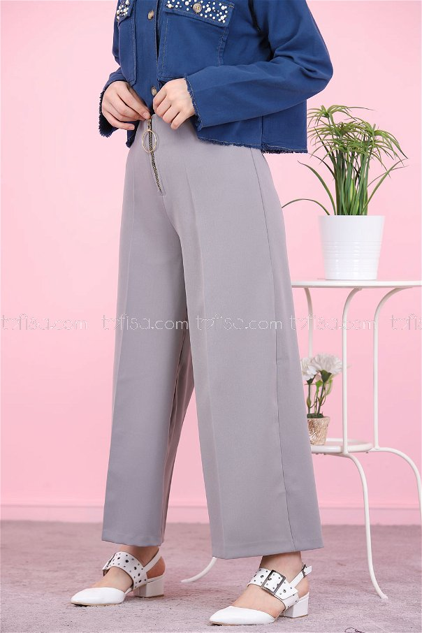 Front Zippered Pants Grey - 8500