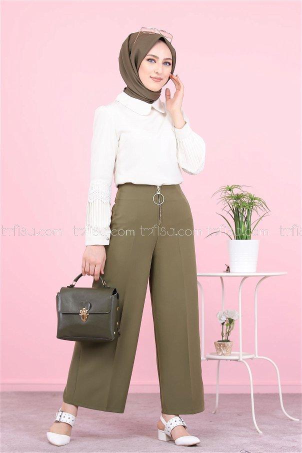 Front Zippered Pants Khaki - 8500