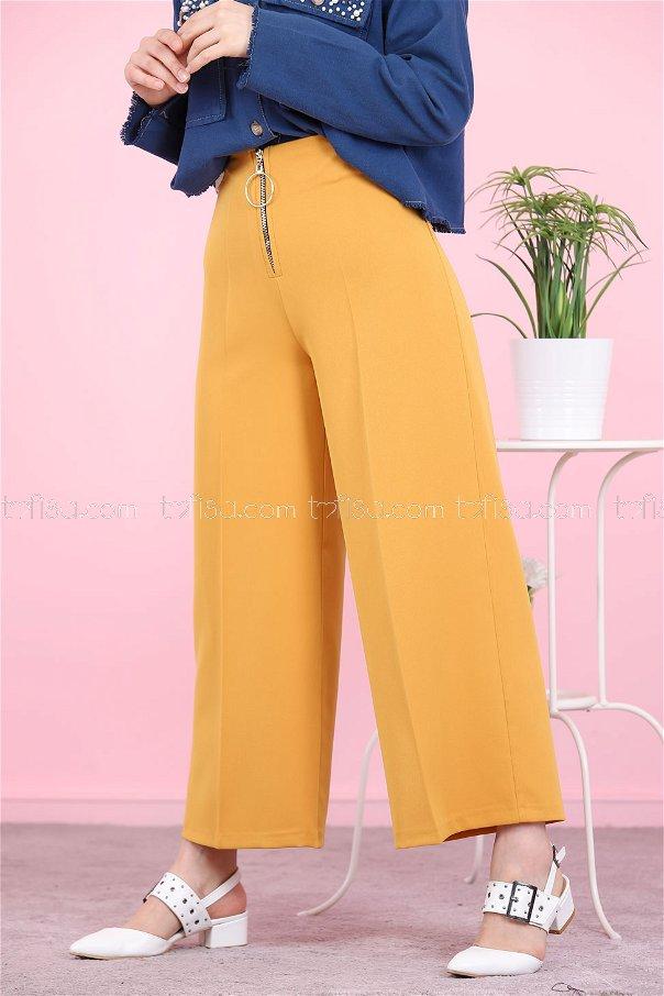Front Zippered Pants Mustard - 8500